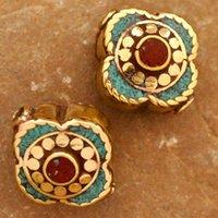 artisan rings - Tibetan Jewelry BD135 Nepalese Artisan Handmade Turquoise Coral Brass Beads from Nepal Eksha