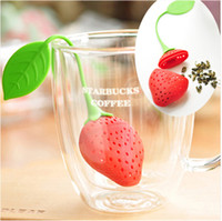 Wholesale Silicone Strawberry Design Loose Tea Leaf Strainer Herbal Spice Infuser Filter Tools New