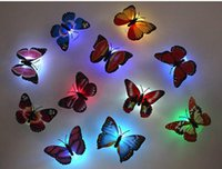 Wholesale Colorful Butterfly Wall Night Lamp Fiber Optic Butterfly Night Light LED Room Decoration Night Light