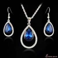18k gold - Jewelry Sets K White Gold High Quality Austrian Crystal Drop Pendant Necklace Earring Set Colors Choose Set