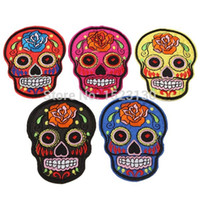 Wholesale Flowered Skulls Skeleton psychedelic Head Embroidered Iron Sew On Patch Goth Punk Rockabilly Applique Label Badge cmx10 cm order lt no tra