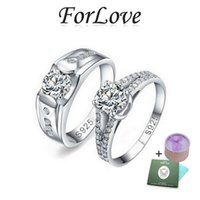real diamonds - 925 Sterling Silver Wedding Rings Couple Lovers Two Gifts CZ Diamond for Women men Engagement Jewelry Forlove Real Pure z2 R208