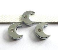 achat en gros de moon charme slide-2016 Nouveau accessoire de bricolage de bricolage de la lune de 8mm plaine ajustement ajustement au wristband, chaîne de collarphone d'animal familier