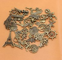 carved animals - Mixed bag Assorted Carved Charms Pendants Beads Metal Alloy Pandent Plated Antique Bronze Diy Bead