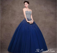 Wholesale Royal Blue Ball Gown Strapless Crystal Quinceanera Dresses Rhinestone Beaded Lace up Long Vestidos de Anos Sweet Dresses