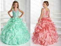 Wholesale 2015 Spaghetti Straps Floor Length Ball Gown Girls Pageant Dresses Kids Sequins Flower Girls Dresses Little Children Party Gowns