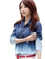 gradient denim shirt - 2016 Spring Blouses Shirts Female Gradient Pattern Cotton Blouse Jeans Women Casual Loose Tops Woman High Street Denim Shirt