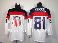 Ice Hockey Men Full USA 81 Phil Kessel 2014 Olympic Premier Blue and White Hockey Jerseys Free Shipping