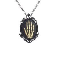 antique gold photo frame - Black Statement Antique Skeleton Ghost Claw Necklace Punk Skeleton Gripper Ghost Claw Pendant Choker Photo Frame Necklaces