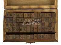 Wholesale New vintage set wood Alphabet Letters Number scrapbooking stamp Stamping gift B19 TK0991