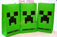 Wholesale DHL Minecraft paper bags JJ blame Creeper popcorn bag MC party food bags cinema cookie container package cm shopping bag J120303