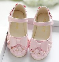 Wholesale Children s shoes shallow baby flower girl shoes wedding sweet little flower princess shoes with leather single shoes XW3b