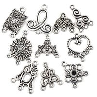 Wholesale MIC New Styles Mixed Tibetan Silver Flower Charms Pendants Findings Connectors For Necklace Earrings Jewelry DIY