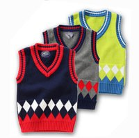 newborn vests - Autumn Winter Girls Boys sweaters Vest Korean Children Newborns Sweaters Knitted Cotton Sweater Vest Geometric V neck Girls Sweater