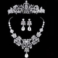 Wholesale Silver Plated Clear Woman Bride Wedding Jewelry Shiny Water Drop Crystal Tiara Hairbands Necklace Earring Sets