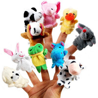 Wholesale 10 Baby Plush Toys Cartoon Happy Family Fun Animal Finger Hand Puppet Puppets Kids learning education Toys Gifts