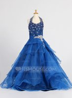Cheap Custom products!2015 A-Line Princess Halter Floor-Length Organza Flower Girl Dress With Beading Sequins Cascading Ruffles Bridal Gowns