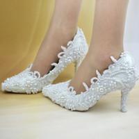 Cheap Wholesale 2016 Bridal Wedding shoes Elegant luxury White pearl Flower pattern High heels Pumps BRIDESMAID SHOES point toe summer Bride shoes