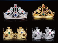 Wholesale Delicate Fashion COS Princess Royal King Crown Headdress Adjustable Colors Masquerade Holiday Dress Show Props
