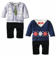 baby pants climb - 2015 Baby Boy Kid Casual Romper Gentleman Pants long sleeve climb baby clothing for boys kids baby rompers Modeling Romper TZX164