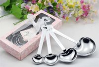 Wholesale 100sets Heart Shaped Measuring Spoons set Wedding gifts spoons only love love spoon