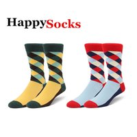 happy - 2014 New Brand Happy Socks Fashion Men s Rainbow Stripe Cotton Socks Avail in Multiple Colors pairs