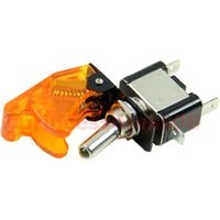 Wholesale F98 V Car Racing On Off Aircraft Type Yellow LED Flip Cover Toggle Switch Control