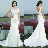 Wholesale 2014 Vintage Beach Wedding Dresses Mermaid Bateau White Satin Ruched Ribbon Cowl Backs Sweep Train Wedding Gowns