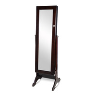 jewelry cabinet live in usa - Dark Brown Full Length Dressing Mirror Wooden Jewelry Armoire Cabinet Rings Bracelets Holder Stock in USA