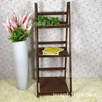 Wholesale Jason furniture pastoral fashion wood floor triple folding shelf bookcase special flower