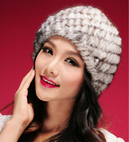 Wholesale Fashion Women Fur Caps Handmade Knitted Real Mink Fur Hat Winter Warm Fur Beanies YH069