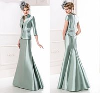 beautiful bride gowns - Beautiful Generous Mother of the Bride Dresses with Jacket Ruched Satin Mermaid Mother Bridal Gowns Peplum Sage Top Quality Formal Dresses