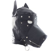 Wholesale Christmas Hats For Adults - 2015 Woman's Black PU Leather Dog Hat Mask Sex Products,Restraints Bound Hood Sex Toys For Couple Adult Games