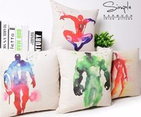 Wholesale Superhero Avengers cushion case water colored superman catwomen spiderman Cushion Cases linen Pillow Cover cool Home Textiles Decor gift