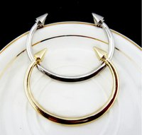 Mexican arrow twist - 2016 punk bracelets for women Heavy metal gold rivet bracelet cone double arrow Steel ring Valentine s day gifts SZ49
