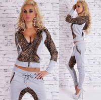 Wholesale 2 Piece Set Women Fashion Ladies Leopard sexy Sportswear Jogging Suits Fall Fashion Hoodies Sport Female Tracksuits