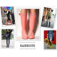 Cheap Cheapest & High quality rain boots Waterproof boots hunter wellies over knee women shoes boots Glossy & matte size 35 36-42 hunters
