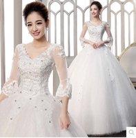 band portraits - 2016 new special wedding dress latest deep V collar band Lace Princess sleeve luxury fashion wedding H1610