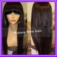 Wholesale Freeshipping inch unprocessed brazilian human hair front lace wig glueless full lace wig with bang