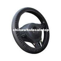 pvc leather car - Universal PVC Leather Steering Wheels Cover Perforated for Black Steering Cover Steering Wheel Car Interior Accessories