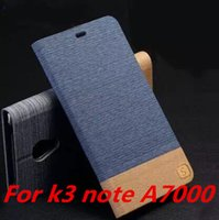 For LENOVO denim fabric - Lenovo K3 NOTE A7000 denim fabric case cover wallet leather FLIP PU TPU Hybrid case cover for Lenovo A7000 ZH0609