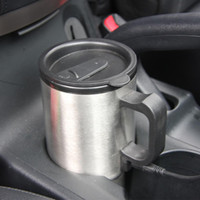 Wholesale 12V Auto Car Heating Cup ml Stainless Steel Coffe Tea Water Heater Cigarette Lighter Adapter Travel Thermo Mug Silver bottle