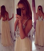 Cheap 2015 Crystal Beaded Prom Dress Deep V neck Full Length Champagne Chiffon Skirt Backless Evening Dress Luxury Sexy Formal Long Prom Gown HL