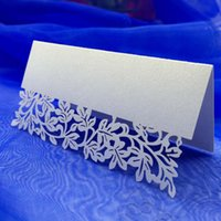 wedding place card holders - 10Pcs Romantic White Carved Flower Vine Table Mark Name Place Card for Wedding Birthday Banquet Decoration H15167