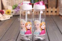 plastic tea cups - FROZEN plastic water bottle kids cartoon drinkware children straw cups cute cup tea kettle gift