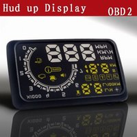 Wholesale US Stock W02 quot HUD Head up Display OBDII Car Windshield Projector Driving Data Speedometer Speeding Warning Security System