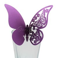 Wholesale 50 Pieces Table Mark Wine Glass Laser Cut Butterfly Name Place Cards for Wedding Party Decoration Products Supplies