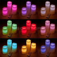 Wholesale Set of remote control color changing ivory color paraffin wax LED flameless candle