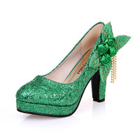 Cheap New Hot Sell Bridal Fashion Green Wedding shoes Bridesmaid High Heels Party Prom evening wedding dress Women flower shoes