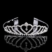 american crown - 10PCS Hot Sale Rhinestone Princess Crown Tiara Sliver Plated Hair Combs Party Birthday Jewelry Women s Girl s Gift